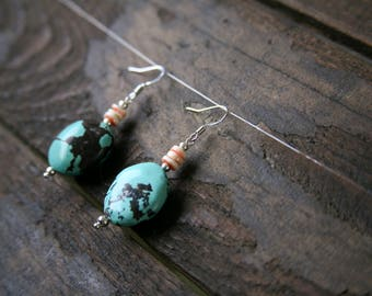 Turquoise Earrings, Shell Earrings, Drop Earrings, Dangle Earrings, Boho Earrings, Hippie Earrings, Statement Earrings