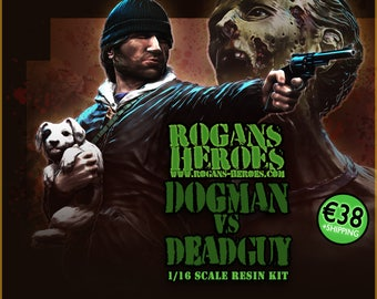 Dogman vs. Deadguy 1/16 scale, plastic resin, Zombie Survivor diorama figurines