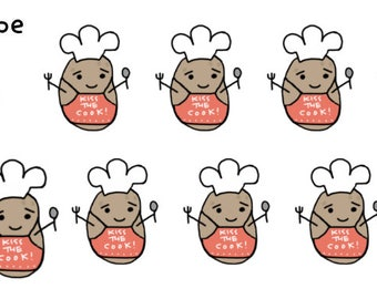 Kiss the Cook Tatoes Stickers