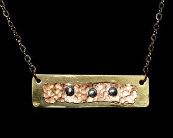 Mixed Metal Bar Pendant In Gold with Copper and Silver