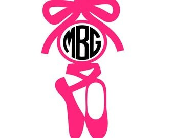 Ballet Shoes Monogram | Personalize your laptop,  water bottle, tumbler | Many colors | 9 FONTS for letters!