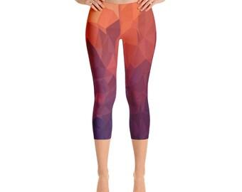 Women's  Fire Capri-Leggings,Beautiful Pattern leggings, full printed, Printful, USA,Made for you, Modern,Trendy Design store,