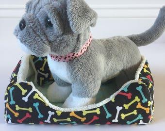 """18"""" Doll Pet Bed/3pc Pet Bed/Doll Pet Bed/Doll Pet Blanket/Dog Bones"""