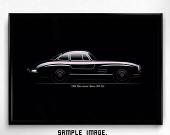 Mercedes 300 SL Gullwing fan art, classic sport car, minimal printable, stylish poster, quality wallart, minimalism, retro style, wall decor