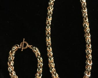 Byzantine Chainmaille Necklace and Bracelet Set