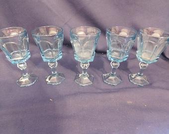 Fostoria Glass Virginia Light Blue Wine Stems -5 1980-1986 Heavy - Pressed Glass