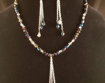 Crystals and Chain Necklace and Earrings Set One Of A Kind