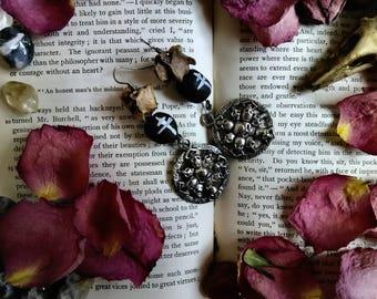 Real Animal Bone Earrings with Skull Shield and Handmade Black Beads - Animal Bone Jewelry