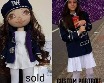 Custom portrait doll Personalized fabric doll Look alike doll Selfie cloth doll Mini me portrait doll Custom made doll Textile doll Rag doll