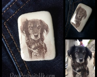 Dog / Pet, Photo jewellery, personalized brooch with any photo of your choosing, pet gift