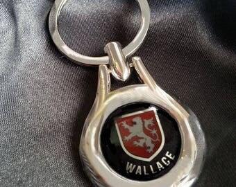 WALLACE Chrome Key Ring Fob Keyring Scottish Irish Clan Gift Idea