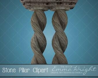 Architecture Clip Art | Stone Pillar | 3D Clip Art | Scrapbooking | Digital Design Resource
