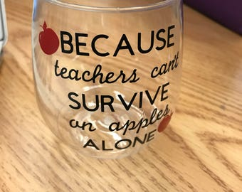 Teacher Survival Wine Glass