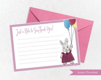 Pink Rabbit Thank You Card Printable, Kids Printable Thank You, Instant Download, Thank You CardDownload, Childrens Party Digital Thank You