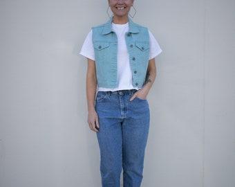 Vintage Teal/Blue Denim Button Up Sleeveless Vest