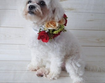 Dog flower collar, Dog wedding collar, Dog collar, Pet wedding, Dog flower accessory, Pet wedding collar, Dog flower crown, Pet flower crown