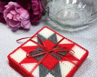 Red and Gray Starburst Coasters