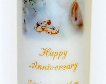 Happy wedding anniversary handmade candle keepsakes, personalized everlasting wedding anniversary pillars, candle designs underneath the wax