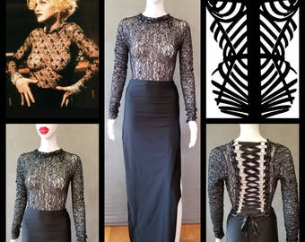 MADE TO ORDER Madonna Vogue Inspired Lace Top with Corset-like Lace up Back and Long Black Skirt with side slits
