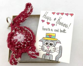 Best Cat Gift, Love You Keychain, Cat Keychain Gift with Card, Mother's Day Cat Butt Gift, Cat, Art Card Print