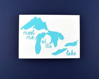 Cabin Decor, Cabin Art, Lake Cabin Gift Idea, Rustic Lake House Decor, Meet Me at the Lake in White, Light Blue