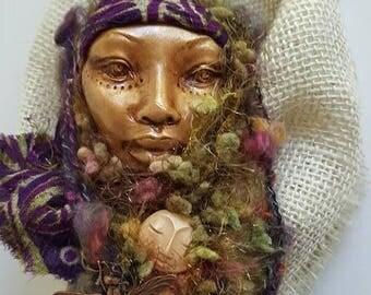 Dragonfly Spiral,  Goddes art, Equinox Moon,Spirit art doll,  Figurative Sculpture, Wite birch branches, Art Doll, by Griselda