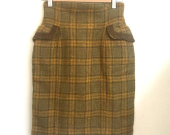 sale*Tweed petite pencil plaid short skirt s/xs