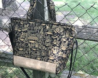 Alice in Wonderland Black Gold Metallic Canvas Cork Tote Bag Purse Adjustable Strap