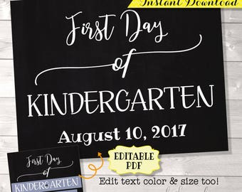 First Day of School Sign, EDITABLE PDF, Back to School Sign, First Day of School Chalkboard, First Day Photo Prop, First Day of School Sign