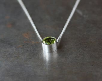 Peridot Necklace, Birthstone Slide Necklace, Sterling Silver Necklace, August Birthstone, Faceted Gemstone Necklace, Layering Jewelry