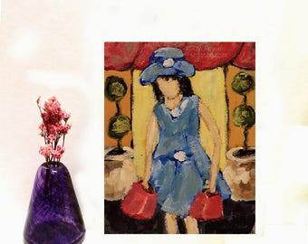Vintage Looking, Woman Shopping, Figure, Original Painting, Shopping, Portrait, Winjimir, Home Decor, Dress Shop, Wall Art, Office Art, Gift