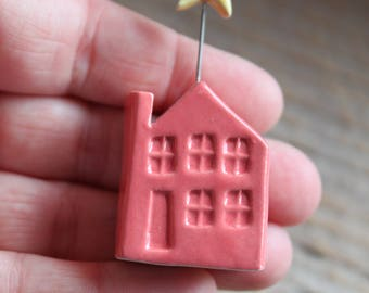 Ceramic Miniature Coral Pink House with Yellow Star - Ready to Ship