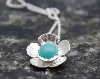 Flower Necklace - Flower Jewelry - Flower Pendant - Nature Jewelry - Gift for Her - Silver Necklace - Botanical Jewelry - Blossom Necklace