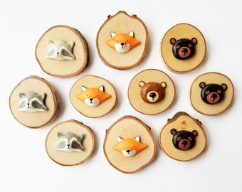 Mini Woodland Critter Wood Wall Plaque - choose from Raccoon, Fox, and Bear