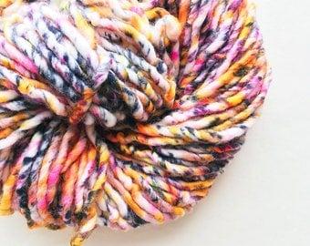URBANIA speckle yarn hand dyed yarn superwash merino wool black white pink yellow orange purple speckled yarn bulky single. One of a kind.