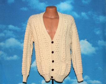 John Molloy Irish Hand Fashioned Fisherman Aran Cableknit Wool Cardigan Sweater Vintage 1980s