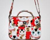 Fortune Cats Shoulder Purse -  Crossbody Bag, Lucky Maneki Neko, Big Eyed Cat, Kawaii Cute, Fifties Retro Style, Vintage Inspired, Red White