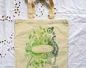 shades of green screen printed love + growth tote bag - 15 x 16 inches - customizable - feathers, flowers, love, hearts