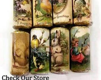 Easter Beads -  Handmade Paper Tube Beads - Chicks - Rabbit- Chicken  - Set/8 -  PB31 - #A