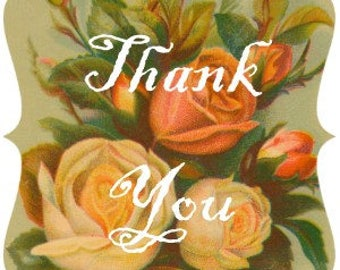 Vintage Rose Thank You Tags