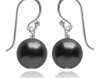 Swarovski Pearl and Sterling Silver Earrings in Dark Grey – CHOICE OF COLOURS