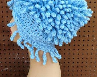 Beanie Crochet Hat for Women, Crochet Beanie Hat Winter Hat, Womens Beanie Womens Hat Womens Winter Hat, Frosty Soft Blue Hat
