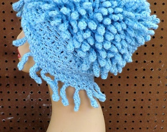 Crochet Dreads Hair, Pom Pom Hat Crochet Hat, Womens Beanie Womens Hat Crochet Ponytail Hat, Frosty Soft Blue Hat