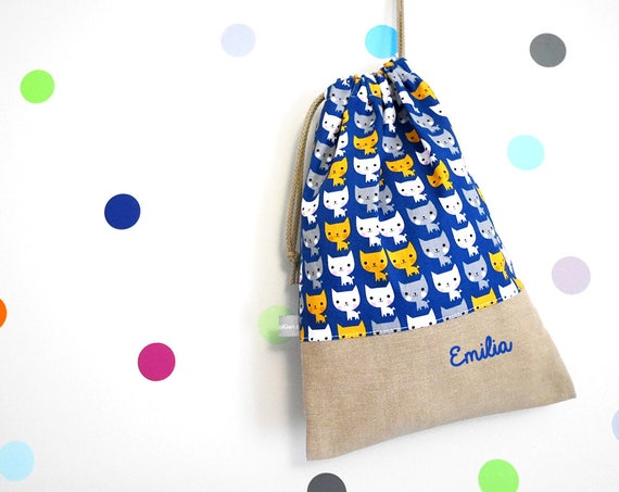 Customizable drawstring pouch - kindergarden - cats - blue - orange - gray - white - school - personalised - comforter baby - toys
