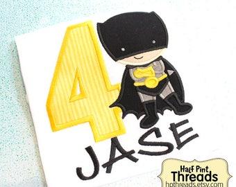 CUSTOM ORDER Black and Yellow Superhero Fourth Birthday Embroidered Applique Shirt
