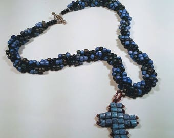 Black and Blue Beaded Rope Necklace with Reversible Cross Pendant