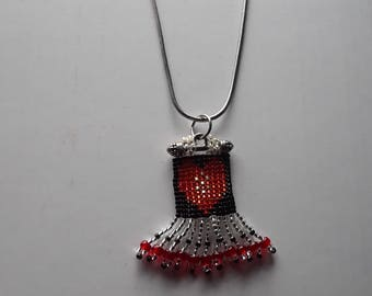 Beaded Fringed Heart Jewelry Pendant in Red Black and Silver Beads