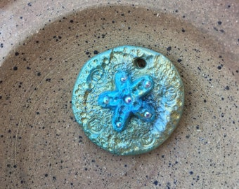Rustic Starfish Pendant, Starfish Bead, Polymer Clay, Ocean theme, Star Fish, Jewelry Supplies, My Garden Of Love by Nathalie Lesage