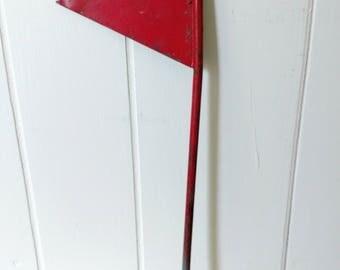 vintage red metal industrial flag
