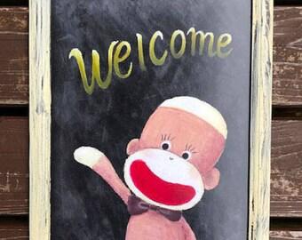 Framed Welcome Sock Monkey Poster - A4, Shabby-chic chalkboard sign, Sock Monkey Print, Chalk Art Print